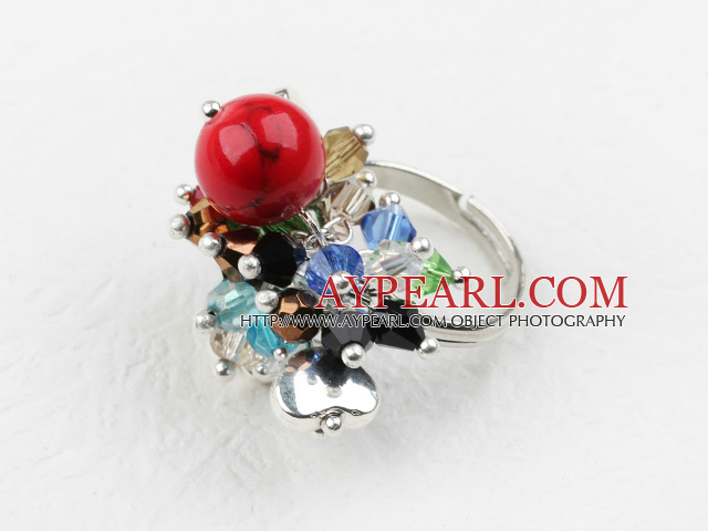 Classic Design Assorted Multi Color Crystal and Alaqueca Adjustable Ring
