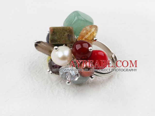 Classic Design Assorted Multi Stone Adjustable Ring