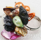 Classic Design Assorted Multi Color tenner Shape Pearl Justerbar Ring