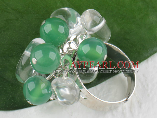 Fashion Cluster Style White Clear Crystal And Green Aventurine Adjustable Ring