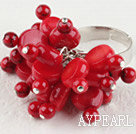 Fashion Round And Disc Shape Red Coral Cluster Flower Adjustable Ring