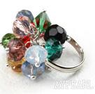 Classic Design Assorted Multi Color Crystal Säädettävä sormus