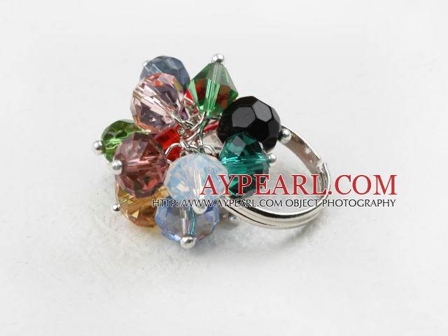 Classic Design Assorted Multi Color Crystal Adjustable Ring