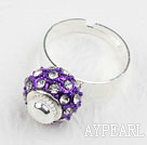Wholesale Fashion Style Purple European Bead with Rhinestone Adjustable Shambala Ring