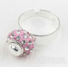Wholesale Fashion Style Pink European Bead with Rhinestone Adjustable Shambala Ring