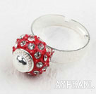 Wholesale Fashion Style Red European with Rhinestone Bead Adjustable Shambala Ring