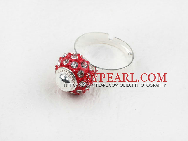 Fashion Style Red European with Rhinestone Bead Adjustable Shambala Ring