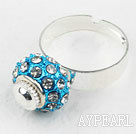 Fashion Style Blue European Bead with Rhinestone Adjustable Shambala Ring