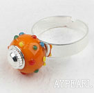Fashion Style Orange European Bead Adjustable Ring