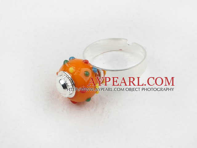 Fashion Style Orange European perle Bague réglable