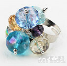 Wholesale Assorted Multi Color Crystal Adjustable Ring