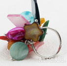 Assortert Multi Color Shell Justerbar Ring