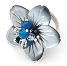 Agate and Crystal and Shell Flower Adjustable Ring
