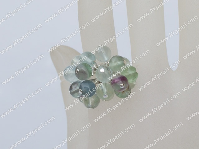 Elegant Cluster Style Round Rainbow Fluorite Adjustable Ring