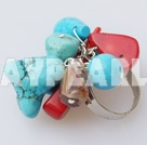 Lovely Customer Style Mixed Shape Red Coral And Blue Turquoise Adjustable Ring
