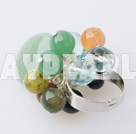 Popular Multi Color Round And Oval Stone And Crystal Loops Ring Adjustable