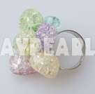 Nice Colorful Burst Pattern Crystal Loop Charm Adjustable Ring