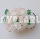 Elegant Cluster Style Green Crystal And Rose Quartz Metal Ring Adjustable