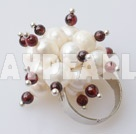 white pearl and garnet ring