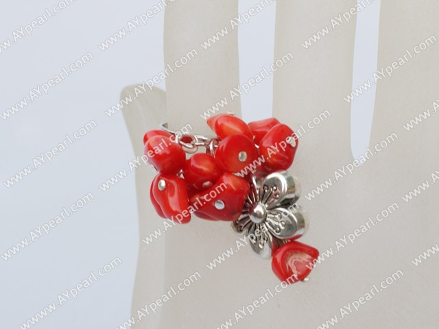 Lovely Cluster Red Coral With Flower Charm Adjustable Ring