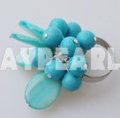 Fashion Round Blue Turquoise And Oval Shell Cluster Adjustable Ring