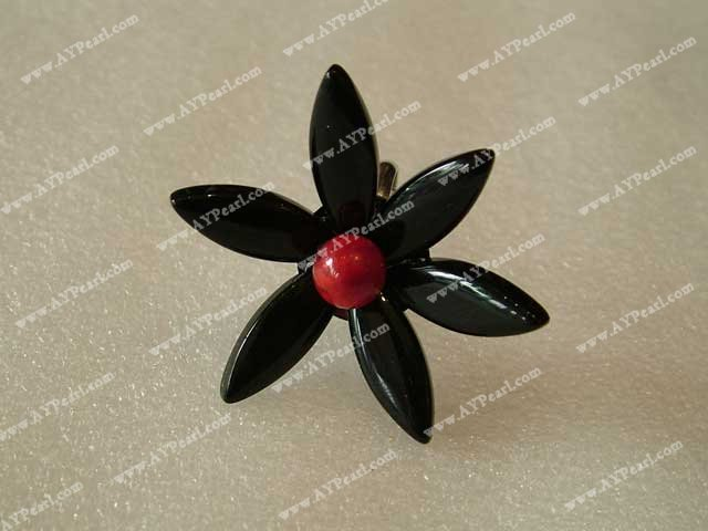 Multi Black Red Mixed Stone Flower Shape Ring