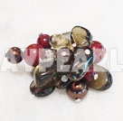 Lovely Freshwater Pearl Smoky Quartz And Red Stone Cluster Adjustable Ring
