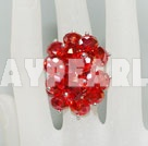 Wholesale Fashion Manmade Cluster Red Crystal Flower Adjustable Ring