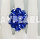 Fashion Manmade Dark Blue Cluster Crystal Flower Adjustable Ring