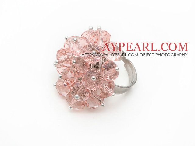Fashion Manmade Cluster Pink Crystal Flower Adjustable Ring