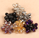6 PCS Sparkly Multi Color Crystal Flower Adjustable Ring (Random Color)