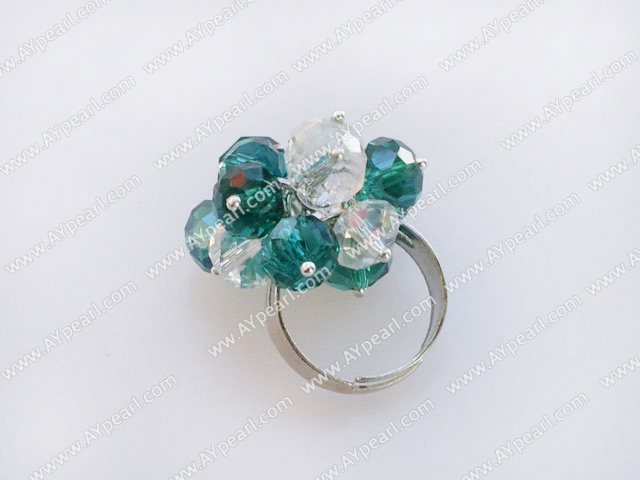 Fashion White And Sea Blue Crystal Cluster Ring With Adjustable Metal