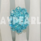 Fashion Manmade Cluster Style Sky Blue Crystal Flower Adjustable Ring