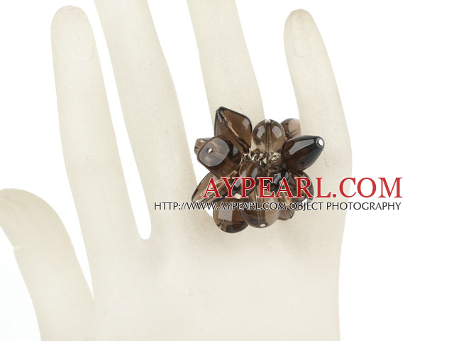 Natural Loop Smoky Quartz Chips Cluster Adjustable Finger Ring