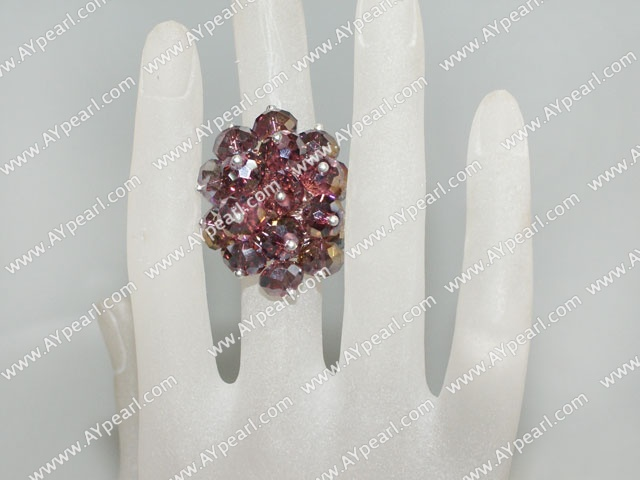 Fashion Manmade Cluster Wine Red Crystal Flower Adjustable Ring