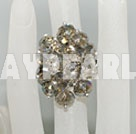 Lovely Manmade Cluster Smoky Color Crystal Flower Adjustable Ring