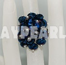 Fashion Manmade Cluster Dark Blue Crystal Flower Adjustable Ring