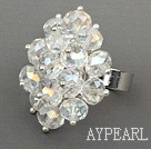 Wholesale Fashion Style Clear Crystal Flower Adjustable Ring