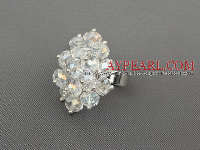 Fashion Style Clear Crystal Flower Adjustable Ring
