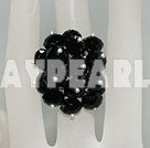Popular Manmade Cluster Black Crystal Flower Adjustable Ring