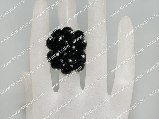 Popular Manmade Cluster Black Crystal Flower Adjustable Ring