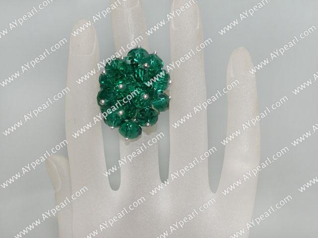 Fashion Manmade Cluster Style Dark Green Crystal Flower Adjustable Ring