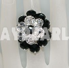 Woderful White With Black Manmade Cluster Crystal Flower Adjustable Ring