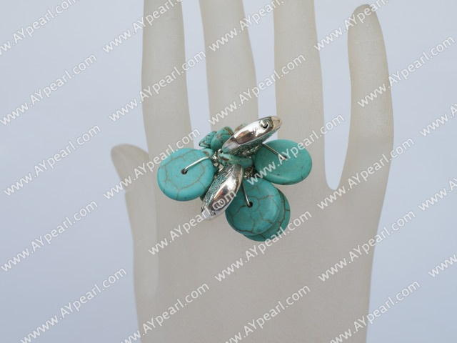 Lovely Cluster Style Disc Turquoise And Ccb Silver Like Charm Adjustable Ring