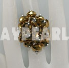 Wholesale Popular Manmade Golden Cluster Crystal Flower Adjustable Ring