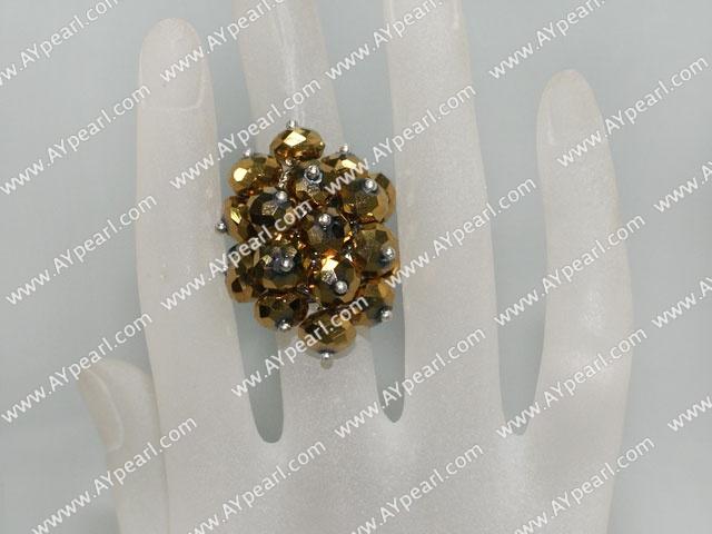 Popular Manmade Golden Cluster Crystal Flower Adjustable Ring