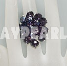 Fashion Manmade Cluster Style Purple Crystal Flower Adjustable Ring