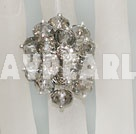 Fashion Manmade Cluster Gray/Grey Crystal Flower Adjustable Ring
