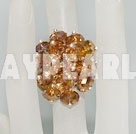 Fashion Manmade Cluster Champagne Color Crystal Flower Adjustable Ring