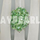 Lovely Manmade Cluster Style Apple Green Crystal Flower Adjustable Ring